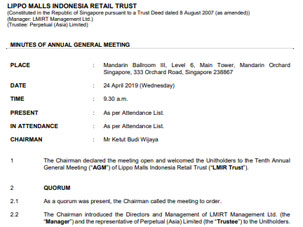 Minutes of the 10th AGM